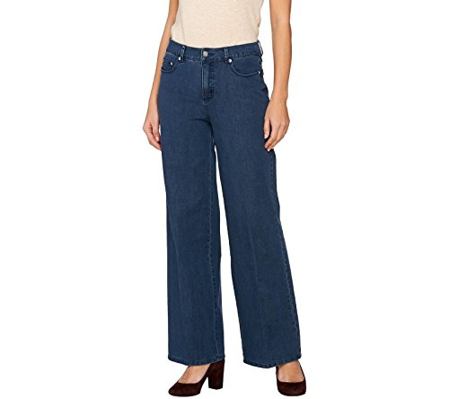 5 Pocket Wide Leg (Isaac Mizrahi 24/7 Denim Wide Leg 5-Pocket Pants Med Indigo 18W New A273099)