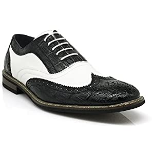 Men's Classic Italy Modern Oxford Wingtip Captoe 2-Tone Lace Dress Shoes (9, CONRAD3_BLACK/WHITE)