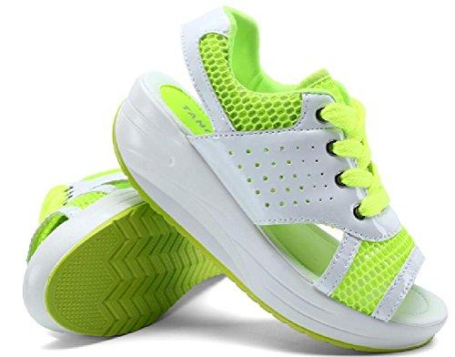 Scarpe Da Donna Zeppa Peep Toe Scarpe Da Ginnastica Casual Sandali Sportivi Verde