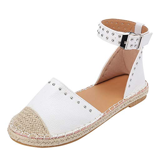 JJLIKER Women Fashion Studs Flat Sandals Closed Toe Ankle Buckle Strap Shoes Classic Comfort Espadrille Loafers White