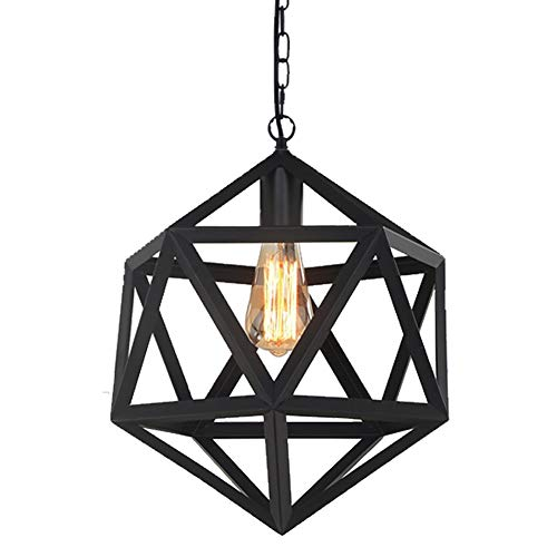 RH RUIVAST Industrial Pendant Light Fixtures,1-Light Adjustable Chain Black Chandeliers for Kitchen Farmhouse Living Room Bedroom Study and Restaurant.
