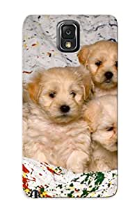 Hot Tpu Two Cover Case For Galaxy/ Note 3 Case Cover Skin Dogs Design - White Mixed Breed Puppies