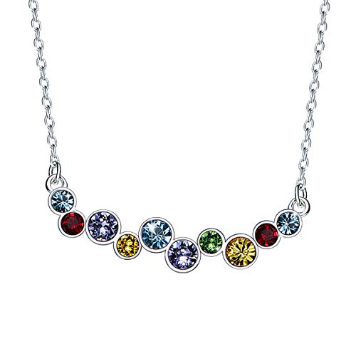 CRYSLOVE Crystal Rainbow Bar Necklace 925 Sterling Silver Pendant Necklace Multicolor Crystal Collarbone Necklace for - Necklace Color Multi Crystal Swarovski