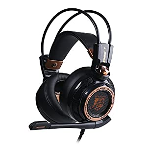 SOMiC G941 7.1 Virtual Surround Sound Effect Gaming Headset with Active Noise Cancelling Powerful Bass Intelligent Vibration Cool LED Anti-interference USB Cord (Noise Reduction Edition)