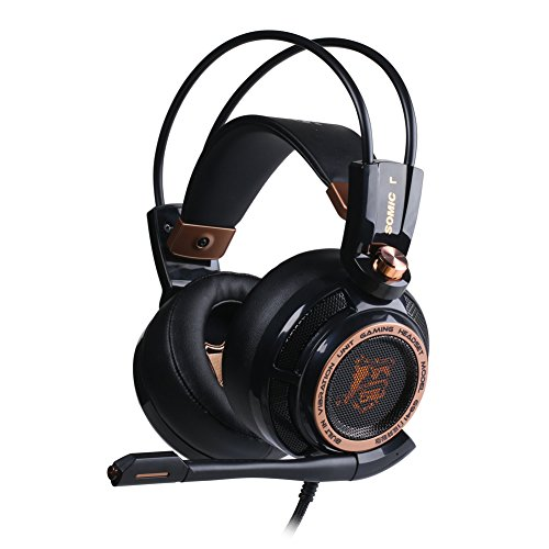 SOMiC G941 7.1 Virtual Surround Sound Effect Gaming Headset with Active Noise Cancelling Powerful Bass Intelligent Vibration Cool LED Anti-interference USB Cord (Noise Reduction, PC/MAC) For Sale