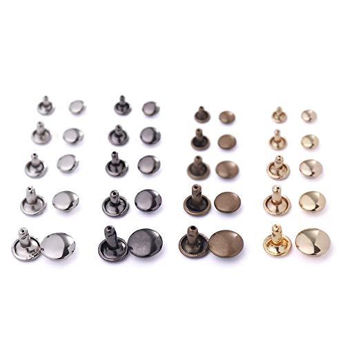 WUTA Double Cap Rivet Pure Copper Brass Round Stud Spike Collision Nail Decorative Rivet for Clothes Bag Shoes Belt 8mm,50 Packs,Gold