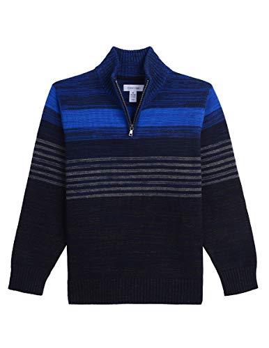 - Calvin Klein Big Boys' Half Zip Sweater, Striped Blue Heather, L14/16