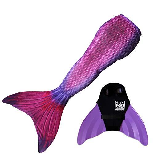 Sun Tail Mermaid Girls Bali Blush Mermaid Monofin Swim Suit, Purple, Large 8/10