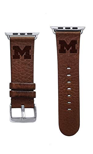 Affinity Bands Michigan Wolverines Premium Leather Band Compatible with Apple Watch - Available in Three Leather Colors - Band ONLY ()