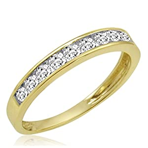 IGI Certified IGI Certified 10K Yellow Gold Diamond Anniversary Ring ( 1/2ct available sizes 5 9)