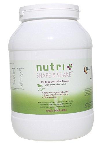 Nutri-Plus Shape & Shake Vegan Schokolade 1kg - Pflanzliches Proteinpulver ohne Aspartam, Laktose & Milcheiweiß