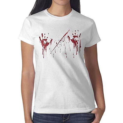 Melinda Halloween Realistic Blood Palm Girls tee Shirt Halloween Costumes for Women -