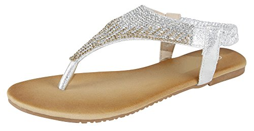 Cambridge Select Women's T-Strap Ombre Crystal Rhinestone Thong Slip-On Flat Sandal (9 B(M) US, Silver)