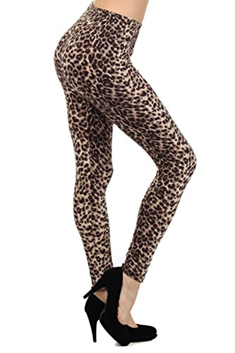Always Women's Juniors Full Length Brown Leopard Print Stretch Leggings -