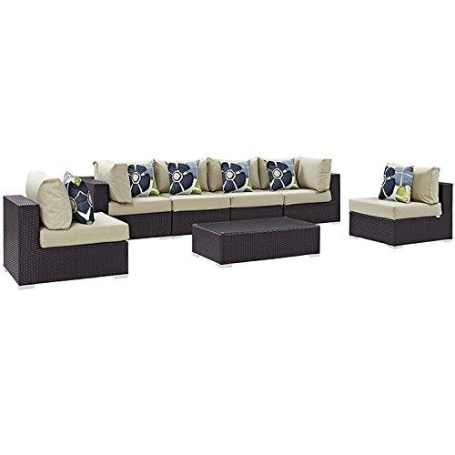 Modway Convene Wicker Rattan 7-Piece Outdoor Patio Sectional Sofa Furniture Set in Espresso Beige