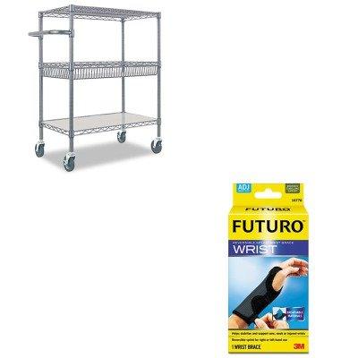 KITALESW543018BAMMM10770EN - Value Kit - Best Three-Tier Wire Rolling Cart (ALESW543018BA) and Futuro Adjustable Reversible Splint Wrist Brace (MMM10770EN)