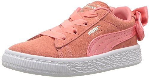 PUMA Baby Suede Bow Slip on Sneaker, Shell Pink-Shell Pink, 10 M US Toddler