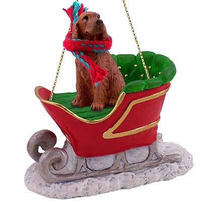 Conversation Concepts Irish Setter Sleigh Ride Christmas Ornament - Delightful!