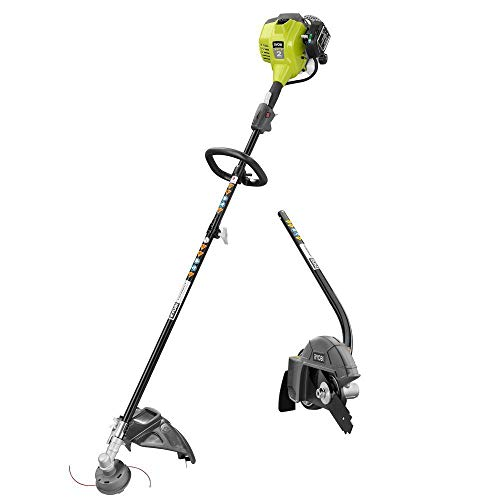 Full Crank - RYOBI 2-Cycle 25cc Gas Full Crank Straight Shaft String Trimmer with Edger Attachment