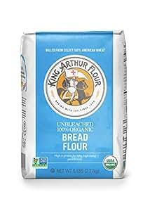 King Arthur Flour 100%s Organic Unbleached Bread Flour, 5 Pound