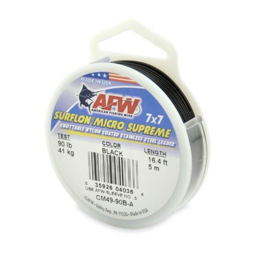 American Fishing Wire Surflon Micro Supreme Nylon Coated 7x7 Stainless Steel Leader Wire, Black Color, 90 Pound Test, 5-Meter