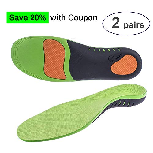 Professional Arch Support Orthotic Insoles (2 Pairs) Plantar Fasciitis Arch Pain Flat Feet High Arch Orthotic Insoles for Men & Women & Kids ...