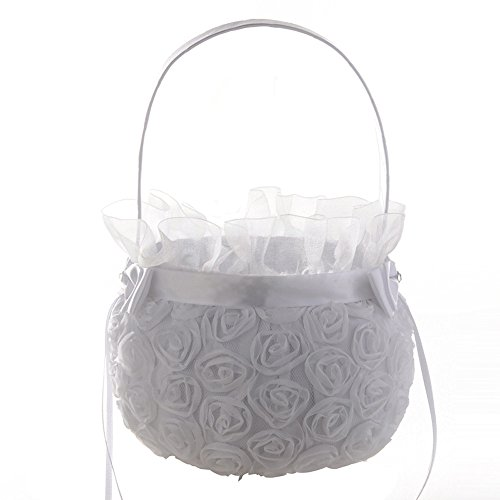 - Icocol New Design Style Lace Flower Romantic Bowknot Silk Cloth Wedding Ceremony Party Rose Flower Girl Makeup Basket Gift
