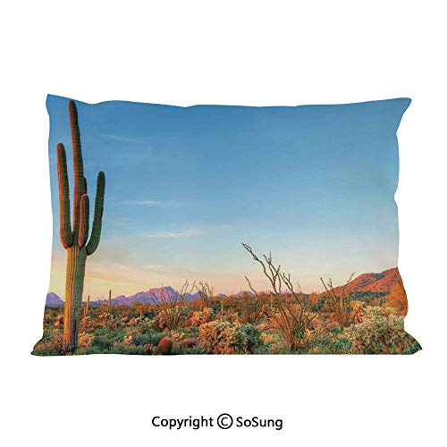 Saguaro Cactus Decor Bed Pillow Case/Shams Set of 2,Sun Goes Down in Desert Prickly pear Cactus Southwest Texas National Park King Size Without Insert (2 Pack Pillowcase 36