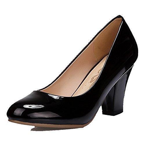 Alti Pompe Weenfashion Elaborazione Tacchi Di Delle Su Donne Nero Solida Punta Chiuso Unità Tiro shoes Rotonda q7HXxUqw