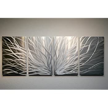 Metal Wall Art, Modern Home Decor, Abstract Wall Sculpture Contemporary   Radiant Silver (