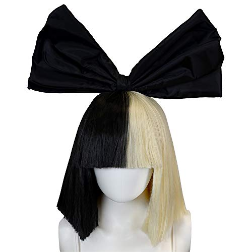 Officially Licensed Sia Costume Cosplay Wig Half Blonde Black Bob Wig & Black Bow Sia Style Wig -