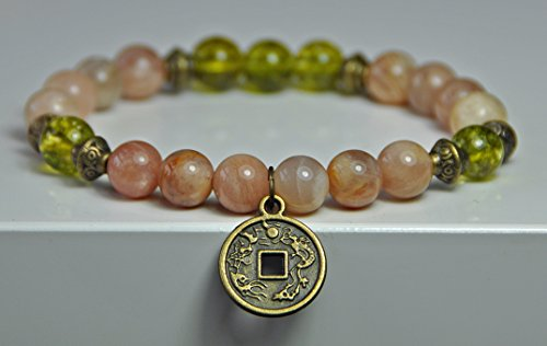 Success & Abundance, Money Magnet Bracelet, Sunstone, Peridot, Gemstone Mala wrist, Lucky Coin Bracelet, Prosperity Mala Bracelet