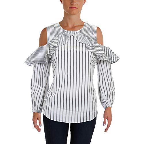 LAUREN RALPH LAUREN Womens Demaka Striped 3/4 Sleeve Blouse B/W S Black/White