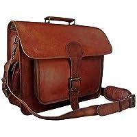 Urbankrafted New Men's Vintage Messenger Bag Shoulder Laptop Briefcase Genuine Leather Brown