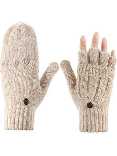 Cable Mitten - Tatuo Women Convertible Glove Cable Knit Glove Half Finger Mitten with Cover for Cold Days (Apricot)