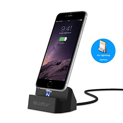 Ipod Nano Charging Dock (For iPhone Charger Dock, RAXFLY [ Removable Magnetic Lightning Connector ] Desktop Charging Stand Station for Apple iPhone SE / 5 / 5S / 5C / 6/ 6S / 7 / 8 / Plus X / iPod Nano / iPod Touch)
