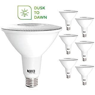 Sunco Lighting 6 Pack PAR38 LED Bulb with Dusk-to-Dawn Photocell Sensor, 15W=120W, 2700K Soft White, 1250 LM, Auto On/Off, Security Flood Light Indoor/Outdoor - UL
