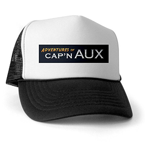 CafePress - Adventures of Capn Aux Trucker Hat - Trucker Hat, Classic Baseball Hat, Unique Trucker Cap Black/White