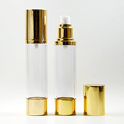 5 x cosméticos de botellas de plástico bomba de tratamiento (Airless botella tapa de oro