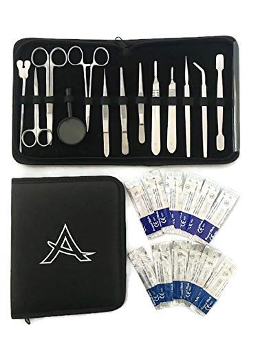 Advanced 26 pcs Dissection Kit with Case | Premium Stainless Steel | Great for Biology/Anatomy/Botany/Marine Biology Students and Teachers, Scalpel Blades are Included for Dissecting Frogs ()
