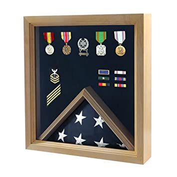 Online Stores Inc Flag and Medal Display Case – Military Shadow Box
