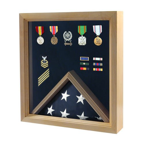 Online-Stores-Inc-Flag-and-Medal-Display-Case-Military-Shadow-Box