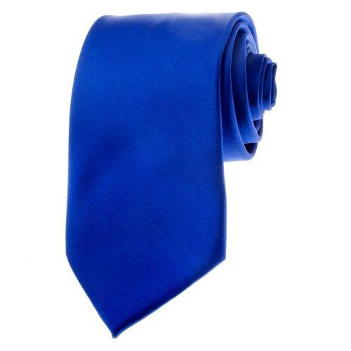 [BRAND NEW Men's Necktie SOLID Satin Neck Tie Royal Blue] (Satin Mens Necktie)