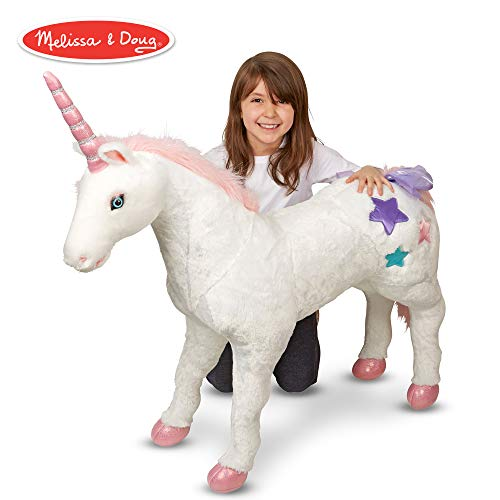 Melissa & Doug Giant Unicorn (Stuffed Animals & Play Toys, Sturdy Wireframe Construction, Pure White Plush Fur, 32
