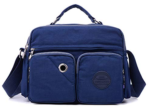 Tiny Chou Lightweight Waterproof Nylon Top-handle Handbag Compact Crossbody Shoulder Bag with Pockets (9820 Navy)