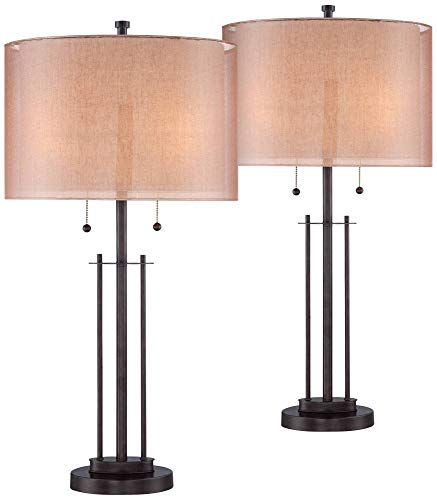 Modern Table Lamps Set of 2 Bronze Metal Open Base Double Drum Shade for Living Room Family Bedroom Bedside - Franklin Iron Works Drum Shade 16 Inch Base