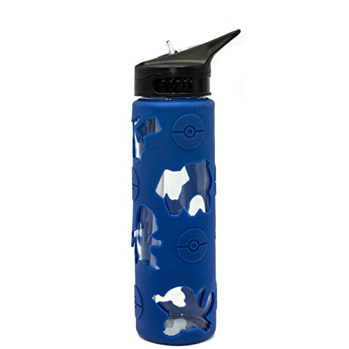 Pokemon PK11326C Icon Pattern Glass Water Bottle with Cut Out Silicone Sleeve, 20-Ounces, Blue]()