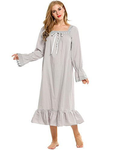Lace Trim Nightdress (Aimado Women's Long Sleeve Pajamas Enchanting Lingerie Lace Trim Nightdress (Gray, Small))