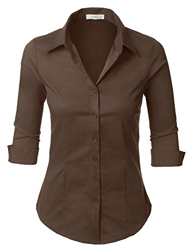 (LE3NO Womens Roll Up 3/4 Sleeve Button Down Shirt with Stretch, L3NWT574_BROWN, Medium)