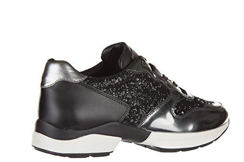 Tod's chaussures baskets sneakers femme en cuir sportivo allacciato active noir